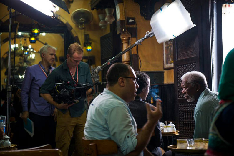 Tim Metzger Filming The Story of God with Morgan Freeman